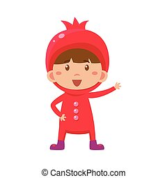 Kid In Pomegranate Costume. Vector Illustration