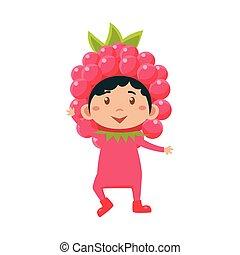 Kid In Raspberry Costume. Vector Illustration