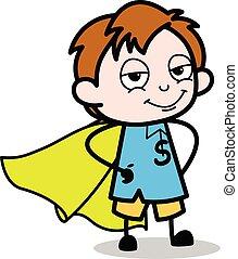 Kid in Super Hero Costume - School Boy Cartoon Character Vector Illustration