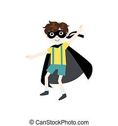 Kid In Superhero Costume With Black Cape