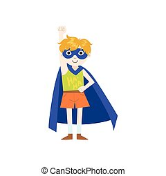 Kid In Superhero Costume With Blue Cape