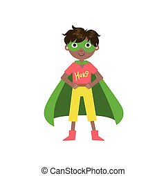 Kid In Superhero Costume With Green Cape