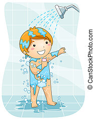 Kid in the Shower - A Young Boy Taking a Shower