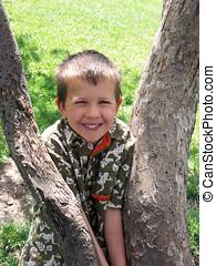 kid in tree
