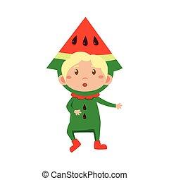 Kid In Watermelon Costume. Vector Illustration