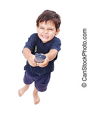 Kid is pressing remote control button