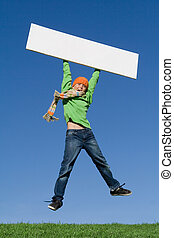 kid jumping with blank sign