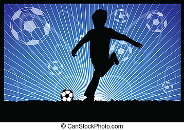 kid kicks soccer ball
