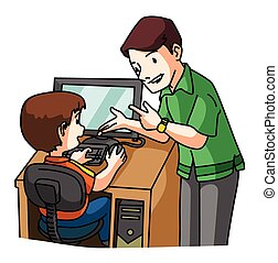 kid learning Computer
