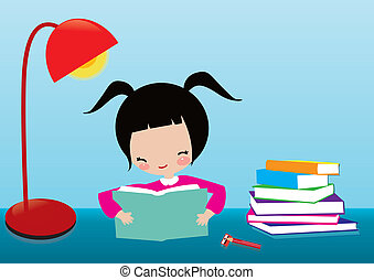kid learning - The little girl in the light of learning,...