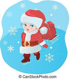 Kid like Santa with gifts
