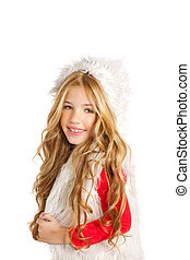 Kid little girl with Christmas winter white fur
