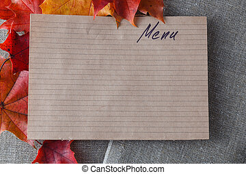 Kid menu decoration with fall leaves
