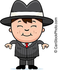 Kid Mobster - A happy cartoon kid mobster standing and ...