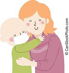Kid Mom Hug Support Leukemia Illustration - Illustration of ...