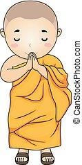 Kid Monk Greeting Illustration