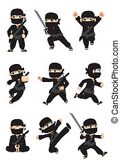 Kid ninja - A vector illustration of different poses of a...