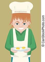 kid novice cook character cartoon - kid novice cook ...
