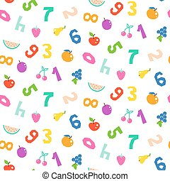 Kid numbers and fruits bright seamless vector pattern.