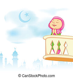 Kid offering namaaz for Eid celebration
