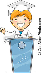 Kid on Lectern - Illustration of a Kid Giving a Speech