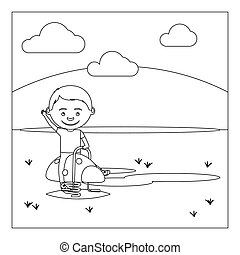 KId on playground coloring book design