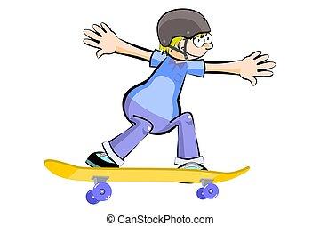 Kid on Skate isolated