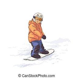 Kid on snowboard