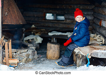 Kid outdoors on winter
