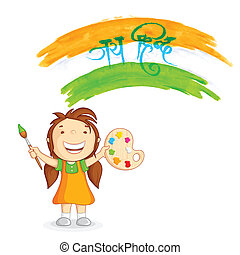 Kid painting tricolor India - vector illustration of kid ...