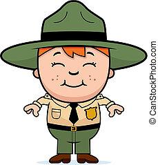 Kid Park Ranger - A happy cartoon boy in a park ranger...