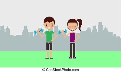 kid personal sport trainer - boy and girl with dumbbells...