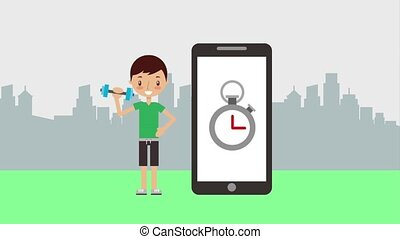 boy lifting dumbbell phone time stopwatch sport trainer animation hd