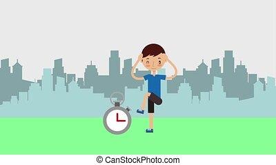 kid personal sport trainer - boy lifting leg personal sport...