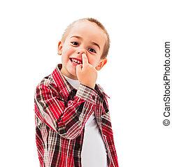 Kid picking Nose - Funny little boy enjoying picking his...