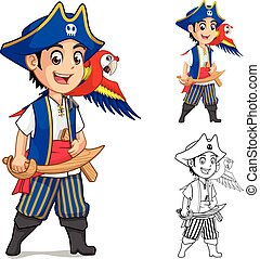 Kid Pirate Holding Wooden Sword with Scarlet Macaw Bird Cartoon Character Include Flat Design and Outlined Version Vector Illustration