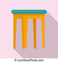 Kid plastic backless chair icon. Flat illustration of kid plastic backless chair icon for web design