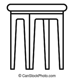 Kid plastic backless chair icon. Outline kid plastic backless chair icon for web design isolated on white background
