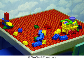 Kid Play table - Picture of a kids play table with blocks...