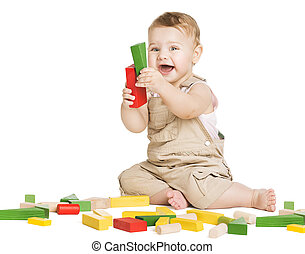 Kid Play Toys Blocks, Happy Child Playing Toy