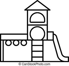 Kid playground complex icon, outline style