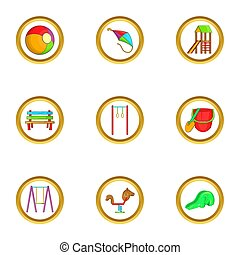 Kid playground icon set, cartoon style