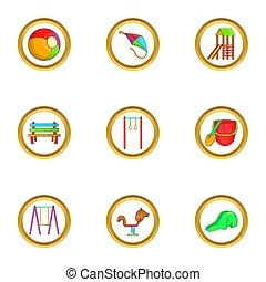 Kid playground icon set, cartoon style