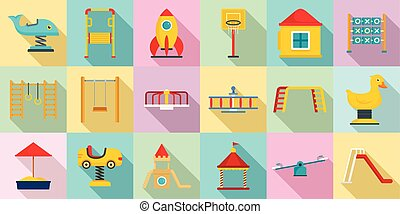 Kid playground icon set, flat style - Kid playground icon...