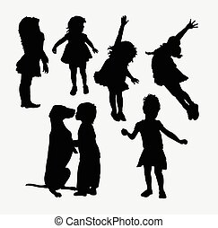 Kid playing activity silhouette