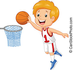 Kid playing basket - vector illustration of Kid playing...
