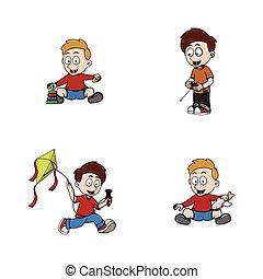 kid playing illustration design