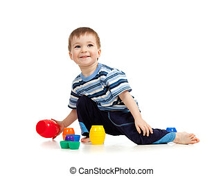 kid playing on floor on white background