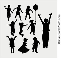Kid playing silhouettes