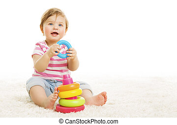Kid Playing Toys Blocks, Baby Play Toy on White